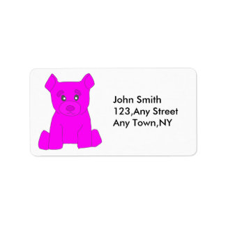 Pink Bear Label Template Address Label