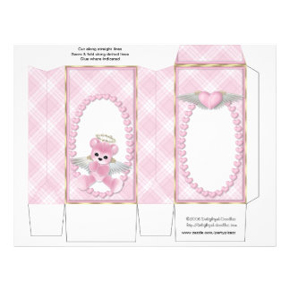 Pink Bear Pinch Box Party Favours.  Baby Shower 21.5 Cm X 28 Cm Flyer