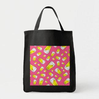 Pink beer pattern canvas bag