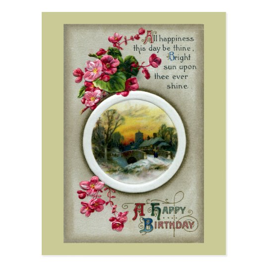 Pink Begonias Vintage Birthday Vignette Postcard