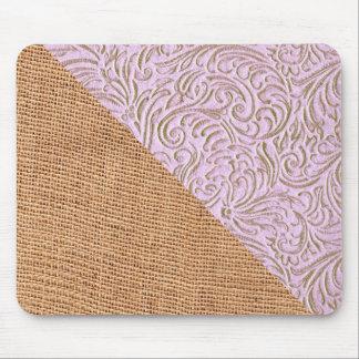 Pink Beige Color Vintage Scrollwork Burlap Design Mouse Pad