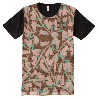 Pink Bell Blossoms Brown Designer Modern Shirt All-Over Print T-Shirt