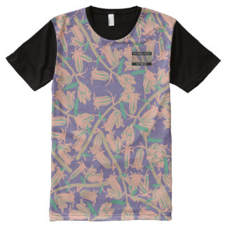 Pink Bell Blossoms Purple Designer Modern Shirt All-Over Print T-Shirt
