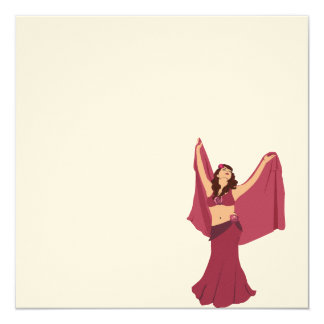 Pink Belly Dancer 13 Cm X 13 Cm Square Invitation Card