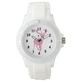 Pink Bespectacled Trendy Stag Deer Design Watch