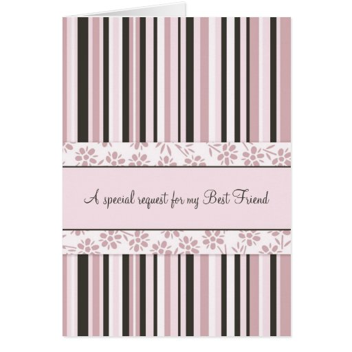 Pink Best Friend Bridesmaid Invitation Card