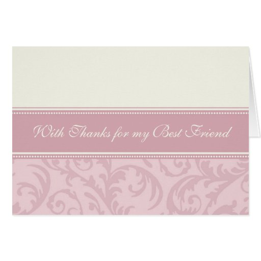 Pink Best Friend Thank You Matron of Honor Card