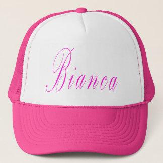 Pink Bianca Cursive Name Logo, Trucker Hat