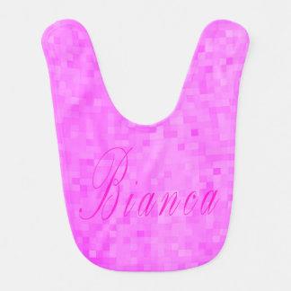 Pink Bianca Name Logo On Pink Mosaic, Bib