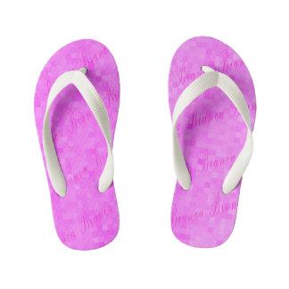 Pink Bianca Name Logo On Pink Mosaic, Kid's Flip Flops