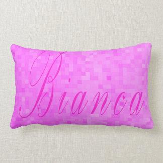Pink Bianca Name Logo On Pink Mosaic, Lumbar Cushion