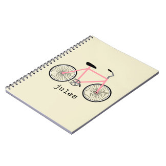 Pink Bicycle Personalized Notebook
