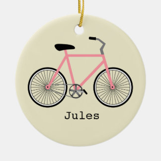 Pink Bicycle Personalized Ornament