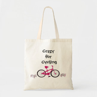 Pink Bicycle with Cute Saying Budget Tote Bag