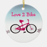 Pink Bicycle with Cute Saying Ornament