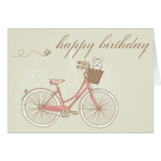 Pink Bicycle with Terrier Happy Birthday Card