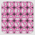 Pink Big Grin Smiley Faces Collage Square Sticker