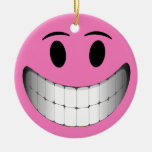 Pink Big Smile Smiley Face Christmas Ornament