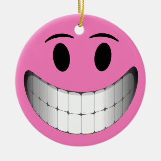 Pink Big Smile Smiley Face Round Ceramic Decoration