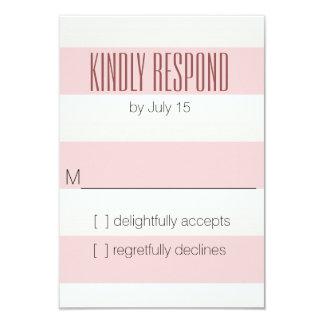 Pink Big Stripe RSVP 9 Cm X 13 Cm Invitation Card