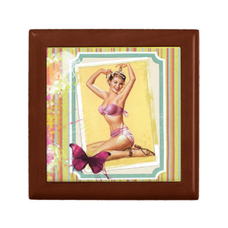 Pink Bikini Pin Up Girl Small Gift Box, Golden Small Square Gift Box
