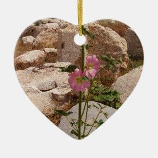 Pink Bindweed Ceramic Heart Decoration