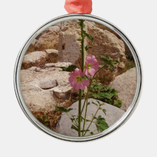 Pink Bindweed Silver-Colored Round Decoration