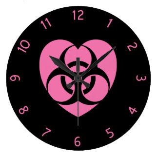 Pink Biohazard Heart Round Wallclock
