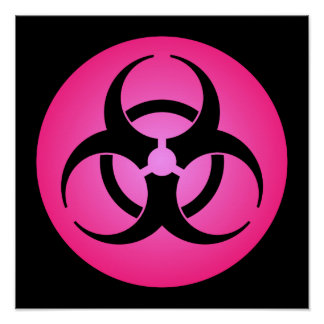 Pink Biohazard Symbol Poster