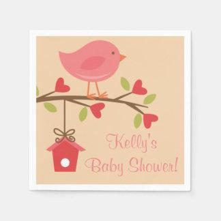 Pink Bird Baby Shower Napkins Paper Serviettes