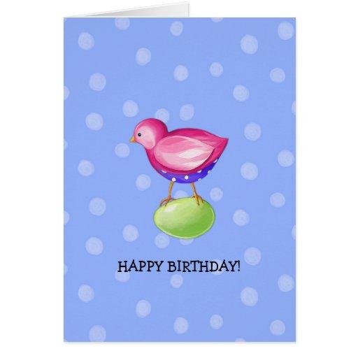 Pink Bird blue Birthday Card