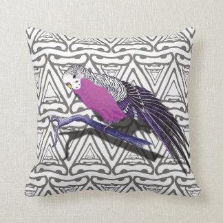 Pink Bird Cushion with Monochrome Triangle Pattern