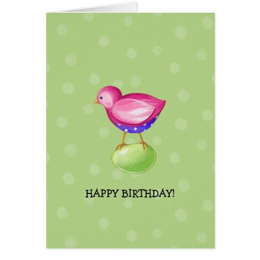 Pink Bird green Birthday Card