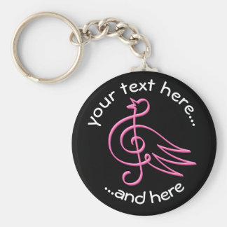 Pink bird music key ring