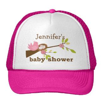 Pink Bird, Nest, Baby Shower Trucker Hat