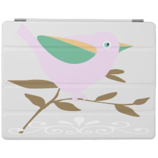 Pink bird on a branch vector art iPad cover