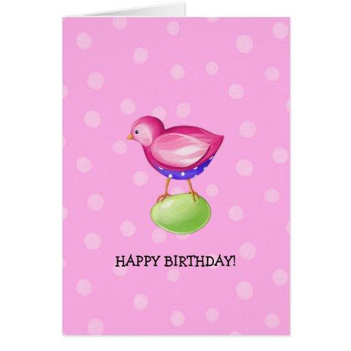 Pink Bird pink Birthday Card