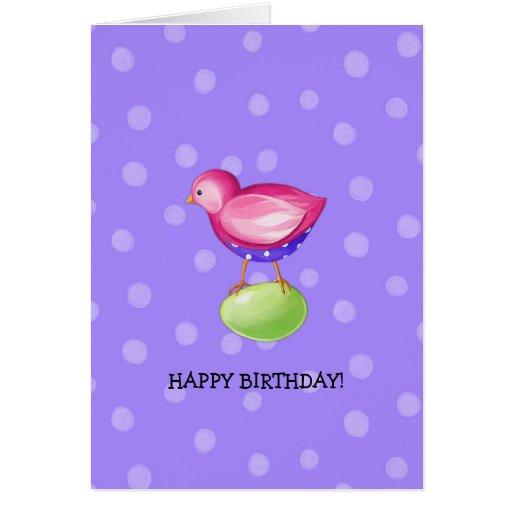 Pink Bird purple Birthday Card