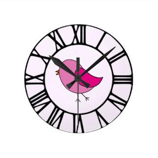 Pink Bird Round Clock