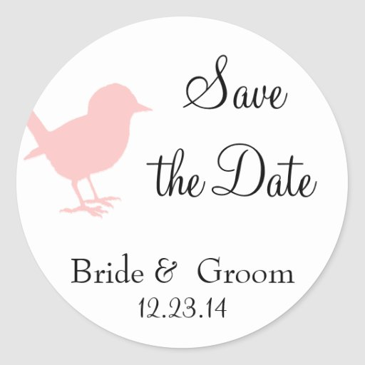 pink bird save the date stickers