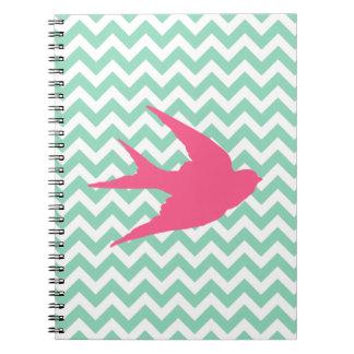 Pink Bird Silhouette on Chevron Stripes Notebooks