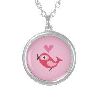 Pink Bird with Heart Necklaces