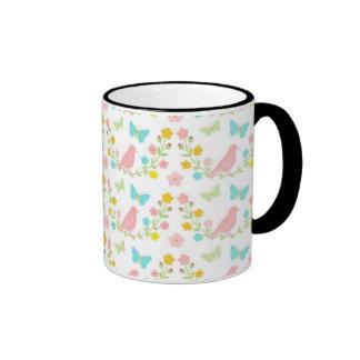Pink birds and blue butterflies ringer mug