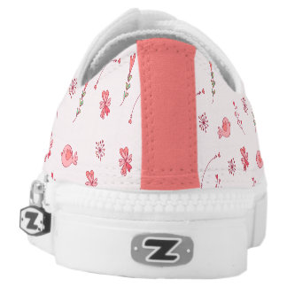 Pink Birds And Flowers Pattern Zipz Low Top Shoes Printed Shoes