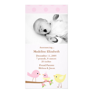 Pink Birds Birth Announcement Photo Greeting Card