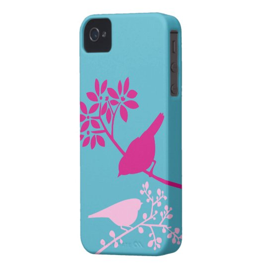 Pink Birds on Light Blue Case-Mate iPhone 4