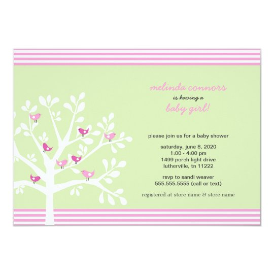 Pink birds on white tree baby shower invite