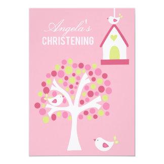 Pink Birds & Tree Baby Baptism Christening Invite