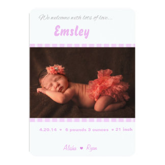 """Pink Birth Announcement for Baby Girl 5"""" X 7"""" Invitation Card"""