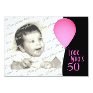 Pink Birthday Balloon with Photo 13 Cm X 18 Cm Invitation Card